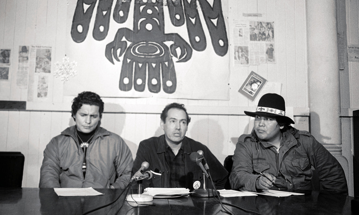 Left to right, Richard Oakes, Earl Livermore, and Al Miller, leaders of the American Indian Movement hold a press conference at Alcatraz Federal Penitentiary on December 24, 1969, during their takeover in 1969-70.
