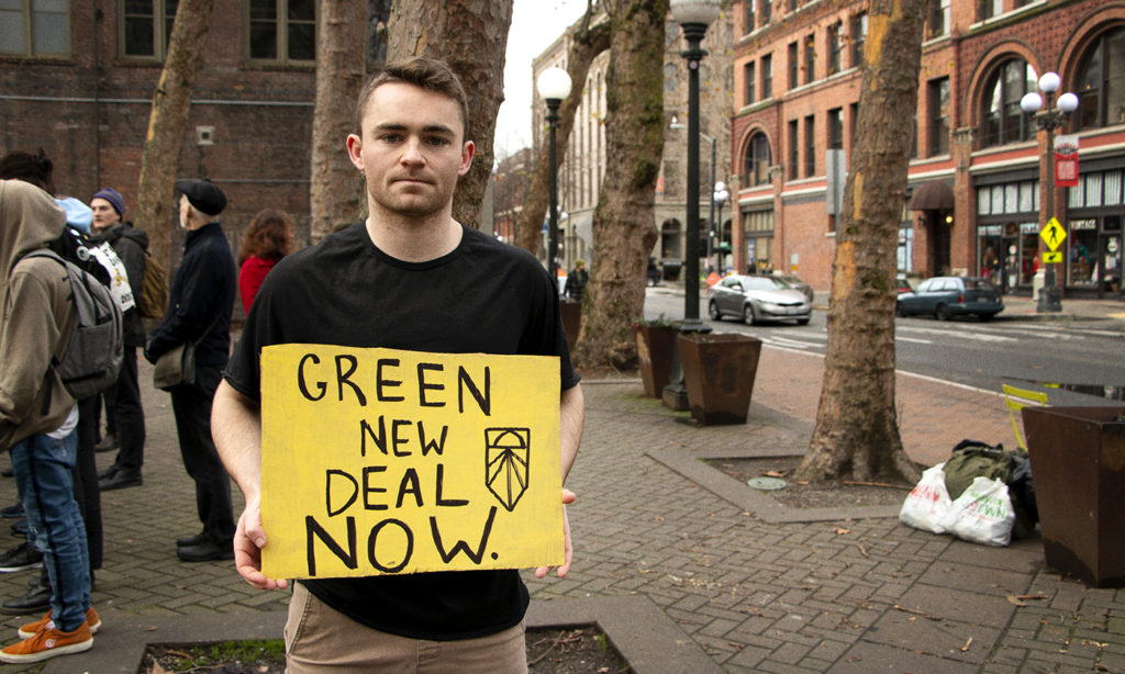 Climate change protests, green new deal.
