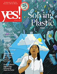 Cover of The Solving Plastic Issue, with a woman holding an umbrella decorated with blue sky, as plastic rains down on her.