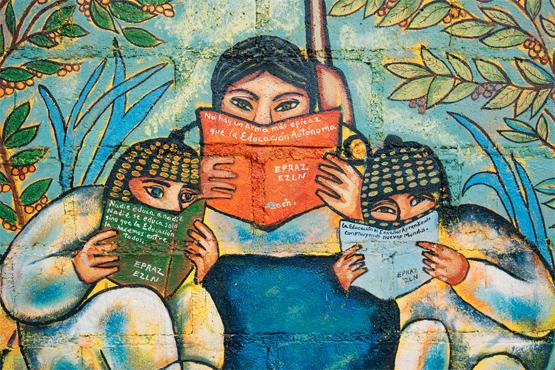 Zapatista mural in San Pedro Polhó. Photo by Dario Ribelo.