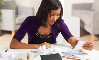 Woman doing bills.