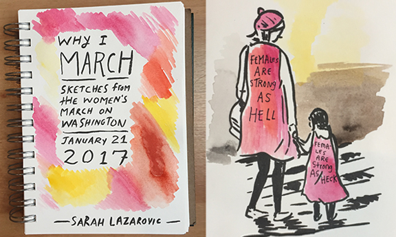 An Artist Went to the Women's March and Sketched What She Saw