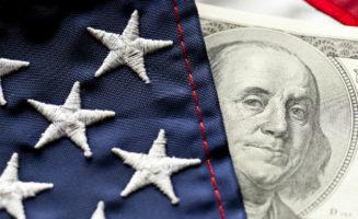 American flag and dollar bill.
