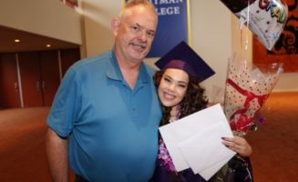 Former Lincoln Alternative High School Principal Jim Sporleder and Kelsey Sisavath. Photocourtesy of Jim Sporleder.