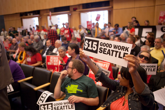 Supporters of Seattle's $15 minimum wage.