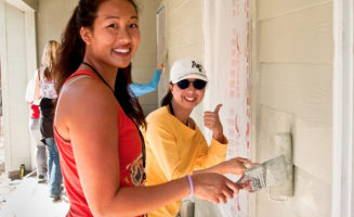 Student volunteers with Habitat for Humanity.