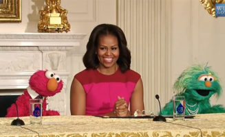 Michelle Obama and Elmo. Official White House Photo.