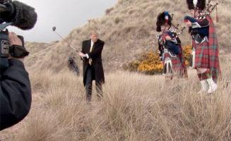Donald Trump golfs