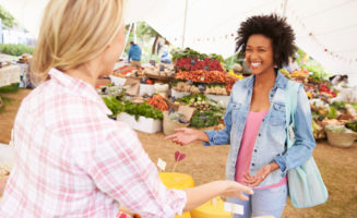 Women at Farmers Market photo from Shutterstock